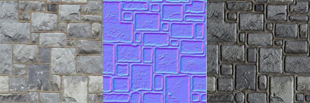 Textura original, mapa de normais e textura modificada.